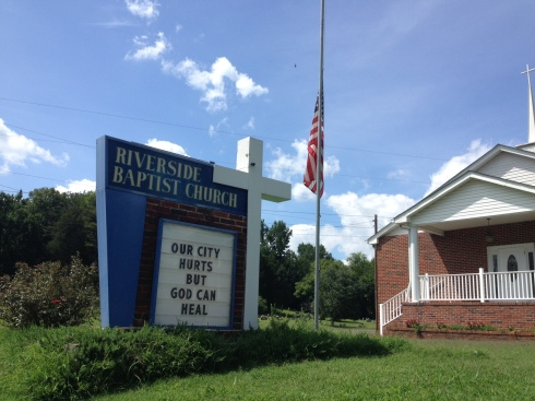 The sign in front of Riverside Baptist, where Anthony Baker is pastor.