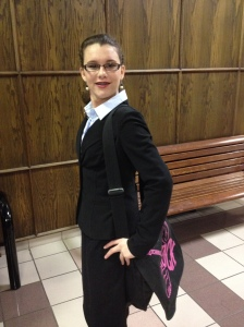 My youngest - an aspiring lawyer - at a mock trial competition.